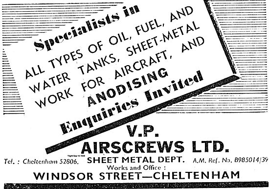 V.P. Airscrews - Specialists In Aircraft Oil, Fuel & Water Tanks