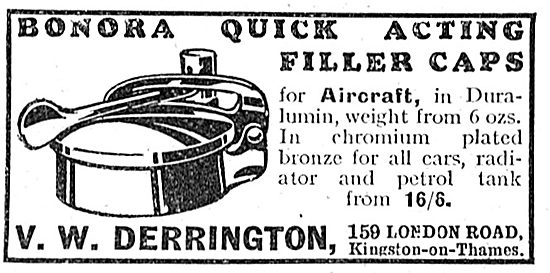 V.W.Derrington: Bonora Quick Acting Aircraft Fuel Caps