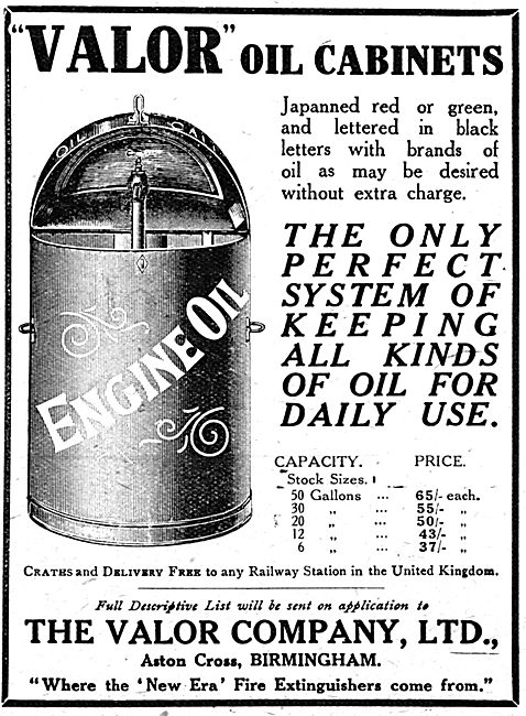 Valor Engine Oil Cabinets 1917