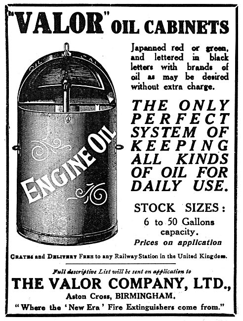 Valor Oil Cabinets For Aircraft Servicing - 1919 Advert