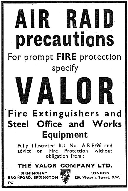 Valor ARP Air Raid Precautions Fire Extinguishers