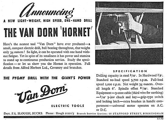 Van Dorn Hornet Electric Hand Drill