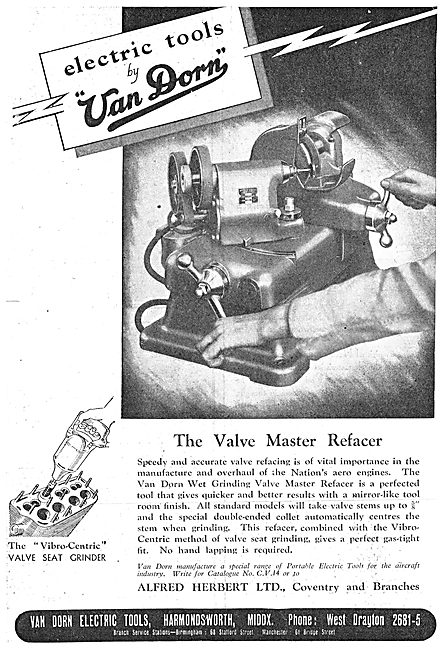 Van Dorn Portable Electric Tools - Master Valve Refacer