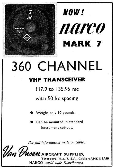 Van Dusen - Narco Mk 7 360 Channel VHF Aircraft Transceiver