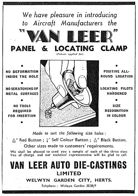 Van Leer Auto Die-Castings. Panel & Locating Clamps 1942