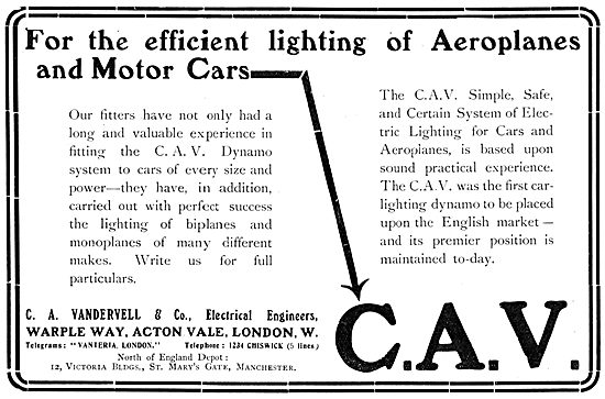 Vandervell C.A.V. Aeroplane Lighting