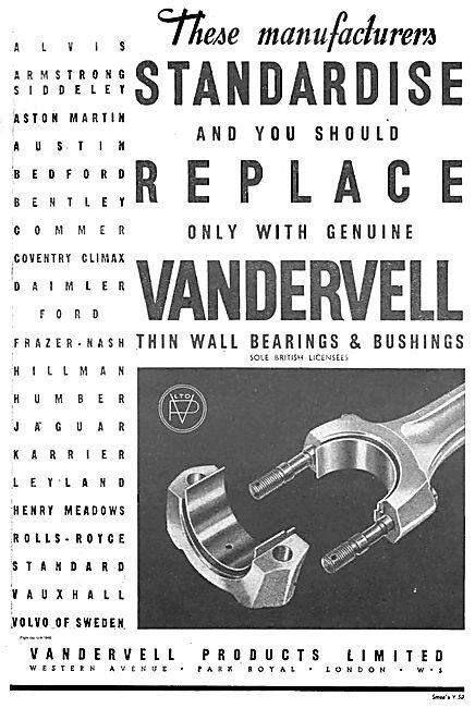 Vandervell Thin Wall Bearings & Bushings For Aircraft Engines
