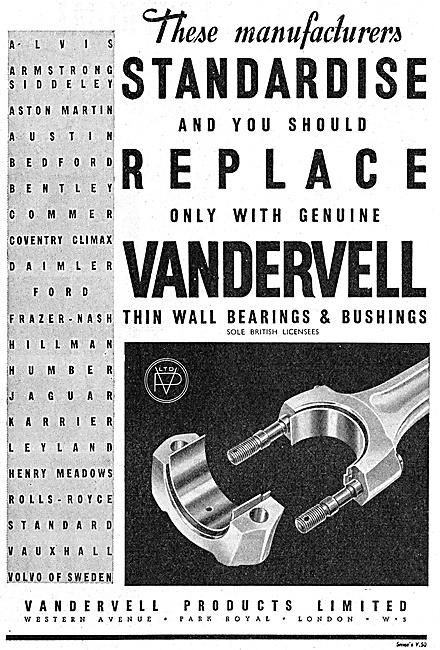 Vandervell Thin Wall Bearings & Bushes