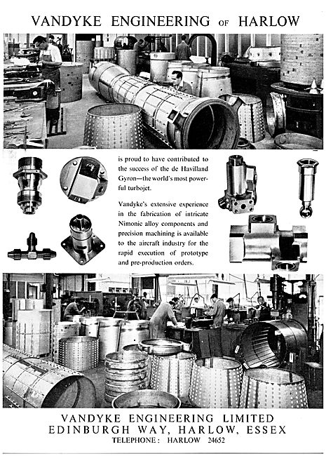 Vandyke Engineering. Harlow. Aeronautical Engineers
