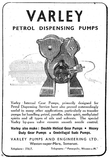 Varley Pumps - Petrol Dispensing Pumps. 1943