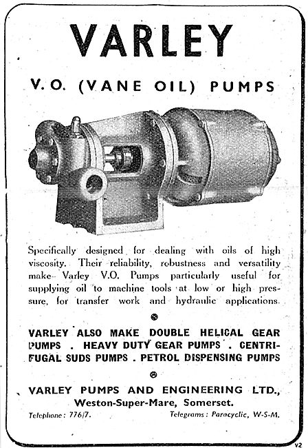 Varley Pumps - Varley V.O.(Vane Oil) Pumps 1943