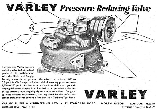 Varley Pumps - Valves. Pressure Reducing Valve1950