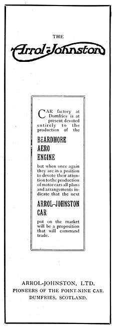Arrol-Johnston  Beardmore Aero Engines 1916