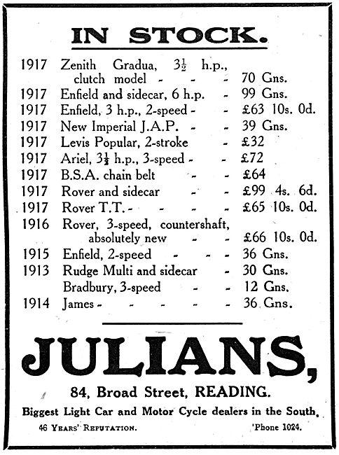 Julians. 84, Broad Street, Reading. Motor Cycle Dealers 1917
