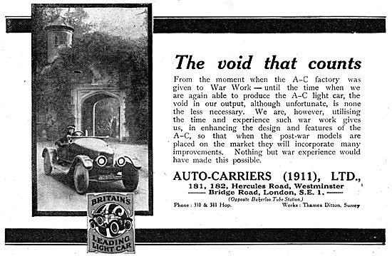 Auto-Carriers. A.C.Cars WW1 Advert