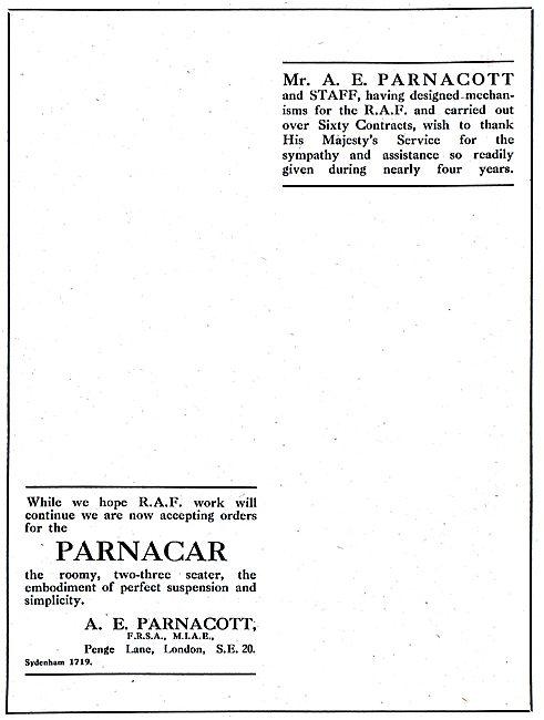 A.E.Parnacott - Parnacar 1918 Advert