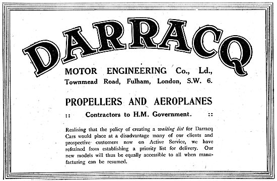 Darracq Motor Engineering - Cars, Propellers & Aeroplanes