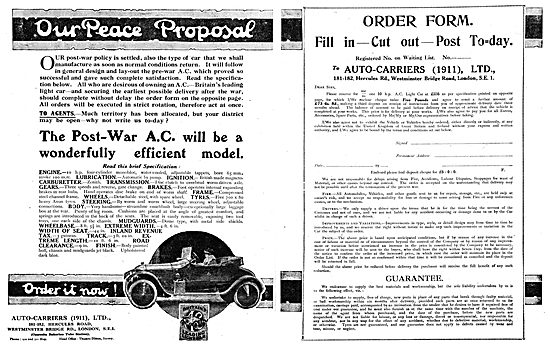 Auto-Carriers - A.C.Cars 1918 Advert