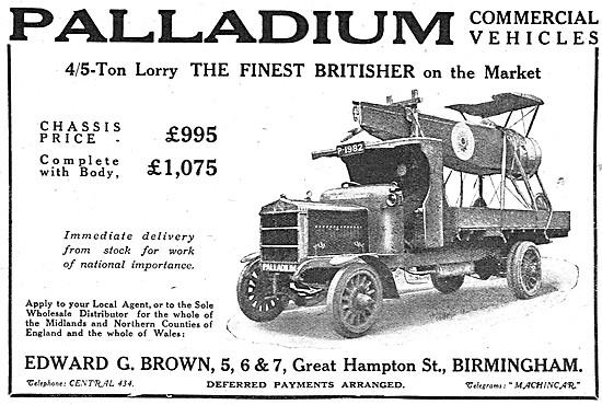 Palladium Commercial Vehicles. Palladium 4/5 Ton Lorry  1918