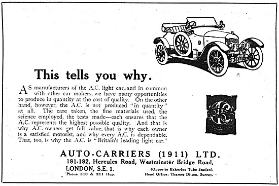 Auto-Carriers - AC Cars 1919