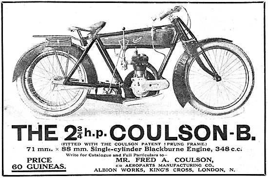 The 2 3/4 h.p. Coulson Motorcycle - Blackburne Engine