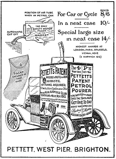 Pettetts Patent Petrol Pourer. 1920 Advert
