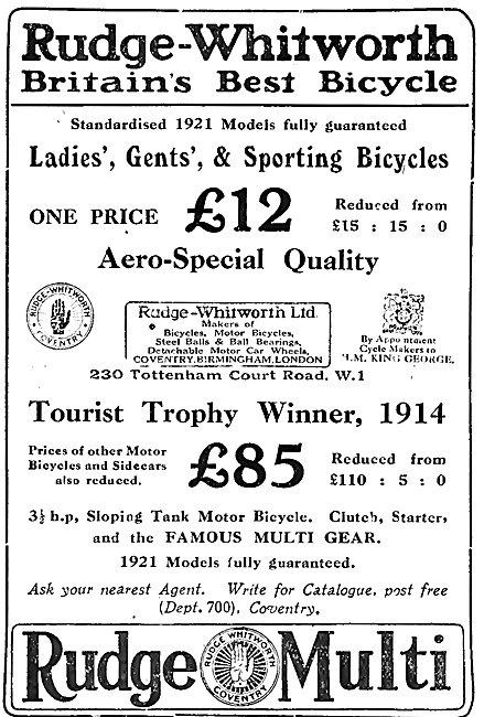 Rudge-Whitworth Bicycles 1921 Rudge Multi