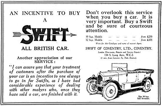 Swift Motor Cars 1925 Advert