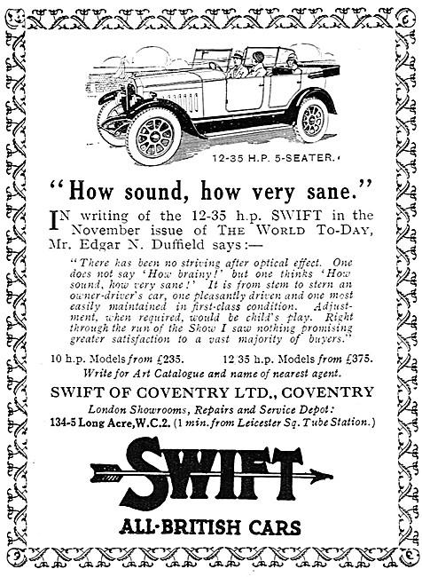 Swift Cars. Swift 12-35 HP 5 Seater. 1926