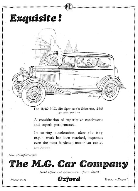 MG 18/80 Six Sportsman's Salonette 1929 Advert