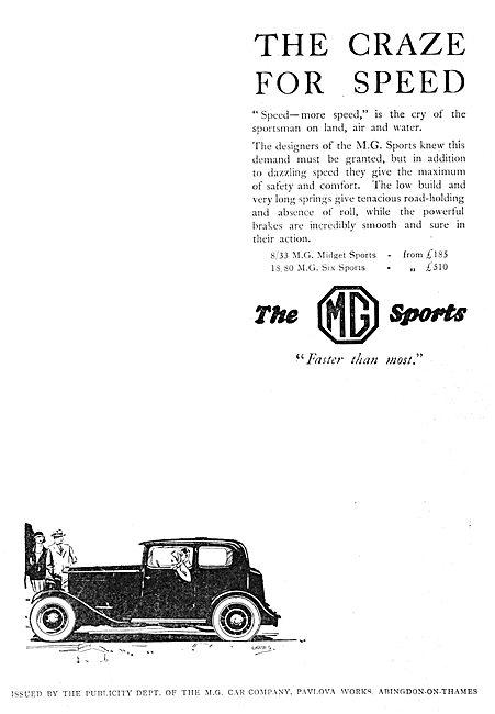 MG 8/33 Midget Sports 1930