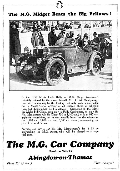 MG Midget Two Seater 1930 Advert
