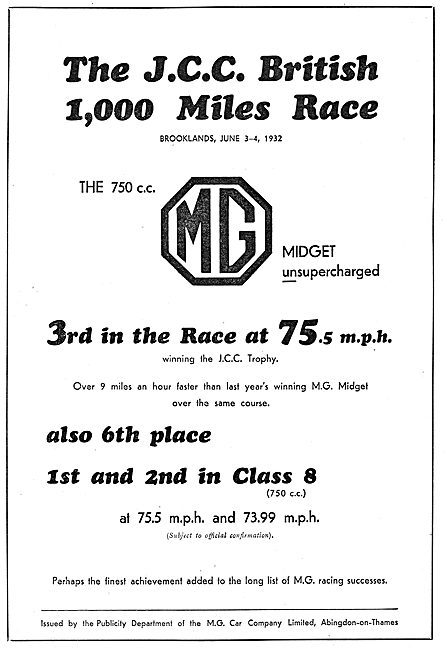 MG Midget Success In JCC 1,000 Miles Race