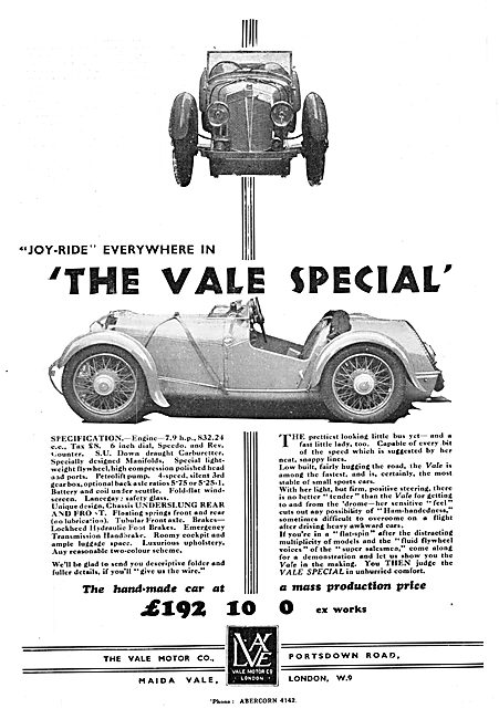 Vale Motor Cars. Vale Special 1932 Advert