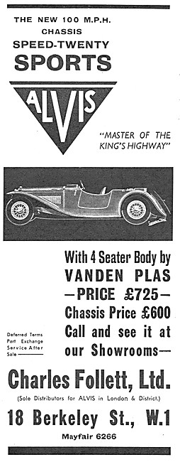 Alvis Speed Twenty 1932 Advert