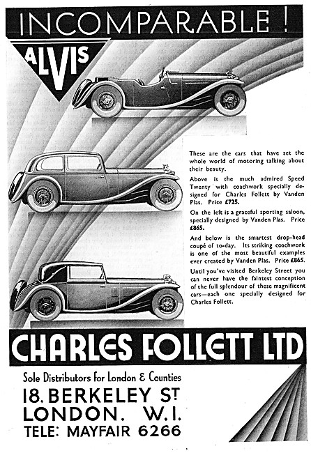 Alvis Cars. Charles Follett. Alvis Speed Twenty 1933 Advert
