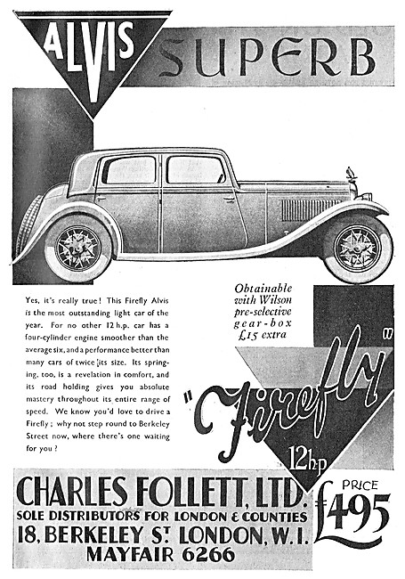 Alvis Cars. Charles Follett. Alvis Firefly 1933 Advert