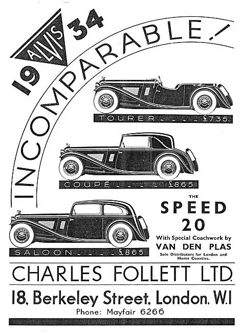 Alvis Cars. Charles Follett. Alvis Speed 20 1933 Advert