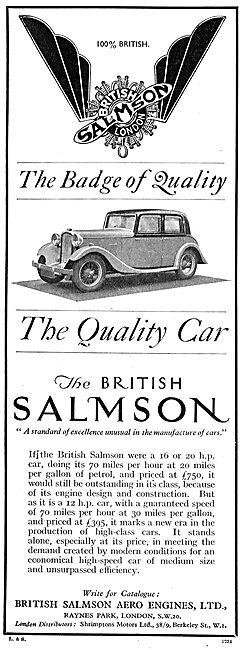 British Salmson Motor Cars & Aero Engines 1934
