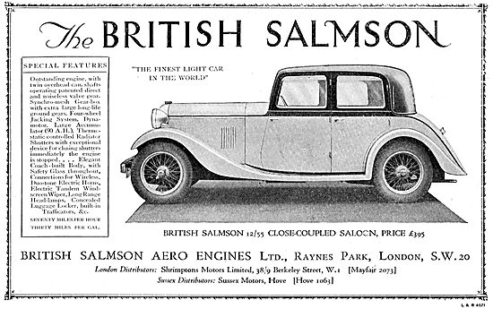 British Salmson 12/55 Close-Coupled Saloon Car 1934