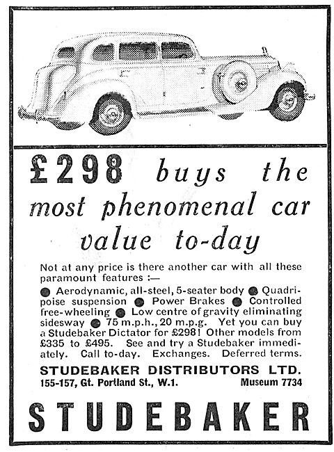 Studebaker 5-Seater Aerodynamic Saloon Car £298.00