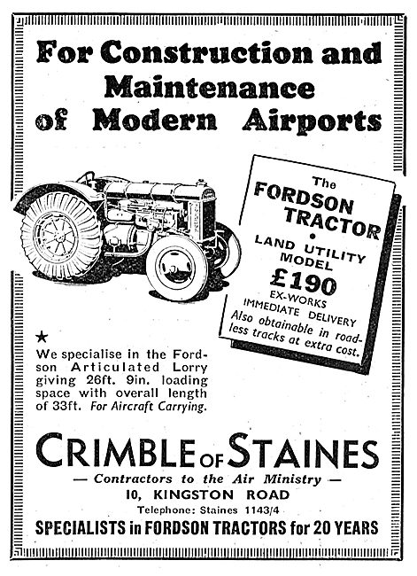 Crimble Of Staines. Fordson Tractors. Land Utility Model 1938