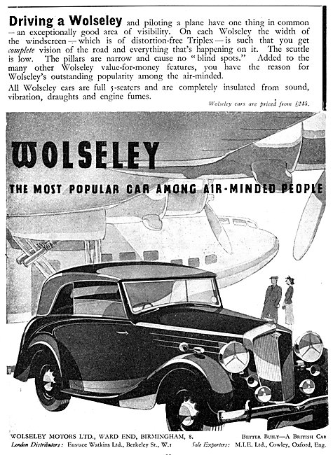 Wolseley Cars 1938 Advert