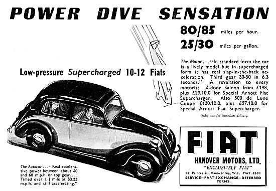 Hanover Motors Fiat. Fiat 4 Door Saloon 1939. Arnott Supercharger
