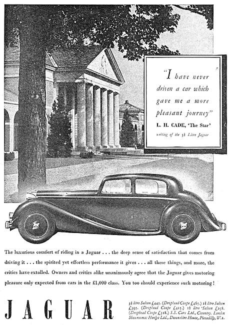 S.S.Cars. Jaguar Car Range 1939