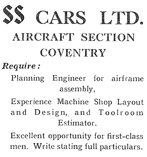 S.S.Cars Aircraft Section Coventry 1940 - Recruitment