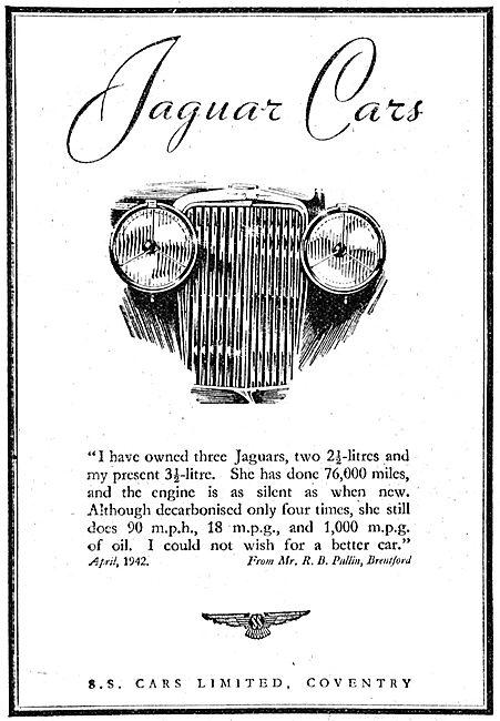 S.S.Cars. Jaguar Cars 1942 Advert