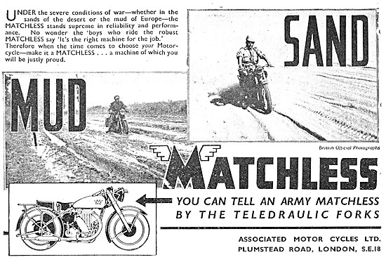 Matchless Army Motor Cycles. teledraulic Forks. 1945 Advert