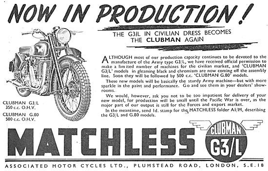 Matchless Clubman G3/L 1945. Matchelss G 80