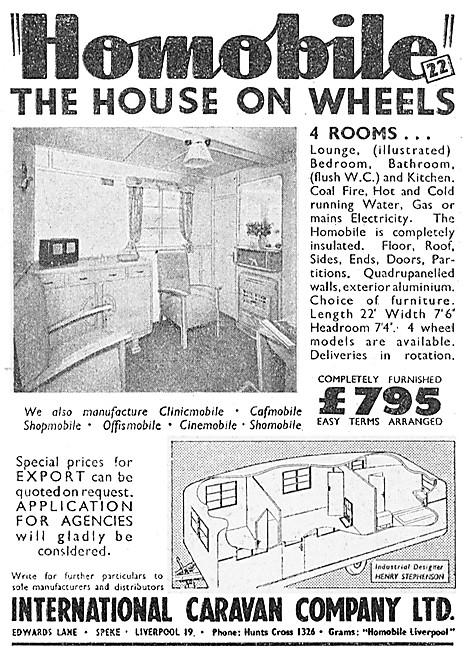 International Caravan Company. Homobile Caravans 1949